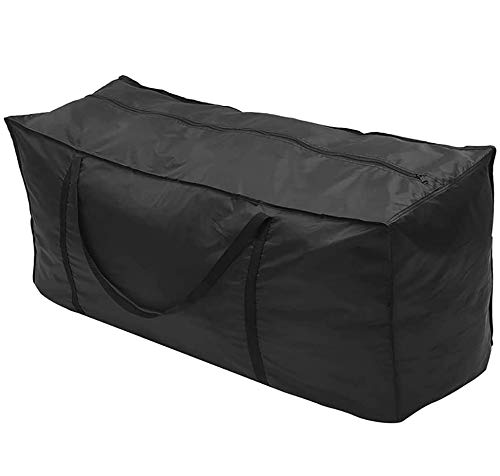Sundeep Garden Cushion Storage Bag 173x76x51cm 210D Oxford Fabric Large Protective Patio Cushions and Cover (Black)