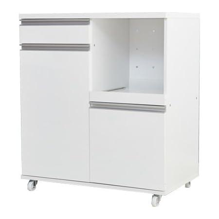 家具350 レンジ台 食器棚 キッチン収納 80cm幅 おしゃれ 大型レンジ対応 食器 ホワイト 92005