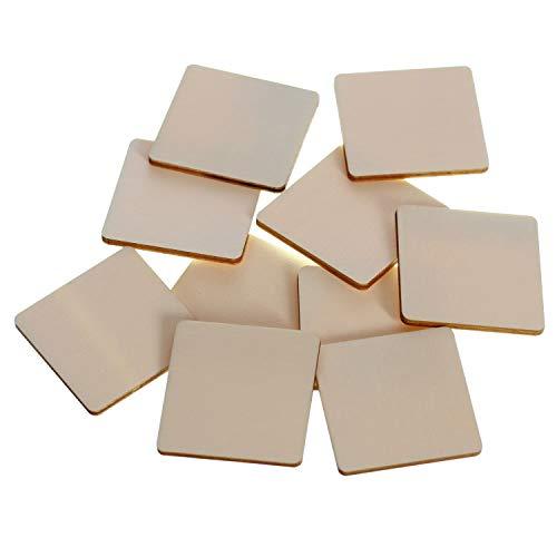 Dischi quadrati in legno – 1 x 1 – 60 x 60 cm decorazione per la tavola fai da te, confezione da 10 pezzi, altezza x larghezza: 1 cm