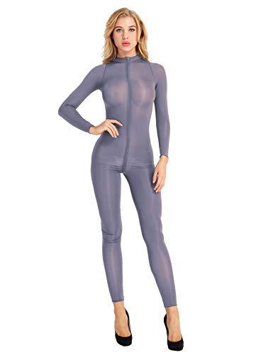 iiniim iiniim Damen Body Overall Durchsichtig Einteiler Bodysuit Jumpsuit Ganzkörperanzug Strumpfhose Tight Leggings Leotard GOGO Party Clubwear Grau M