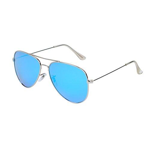 Qixuan QIXU Polarizadas Gafas de Sol Aviador Azul para Hombre y Mujer Efecto Espejo Lente Antirreflejante UV400 con el Caso