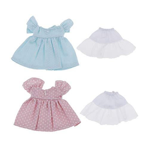 sharprepublic Paquete de 2 Vestidos de Fiesta de Muñecas 1:12 a La Moda para Trajes de Vestir de Muñecas Ob11 1/12