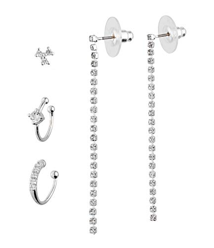 TOSH Earrings Set in Ear Candy Look with Ear Cuffs, Stud Earrings and Earrings, Mix & Match Trendy Piece (1002015)