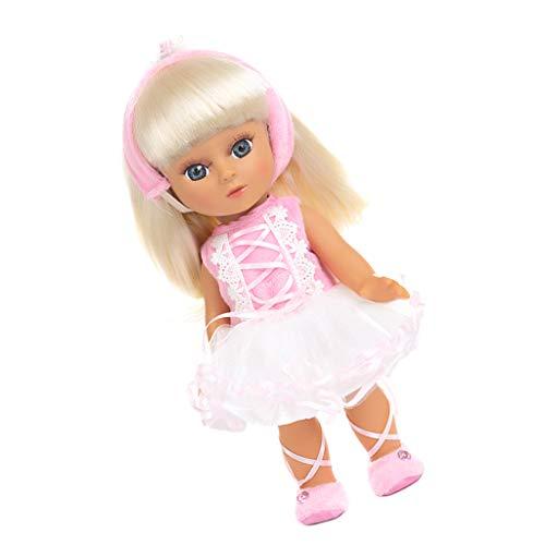 perfeclan 36 cm Vinyl Weichkörper Babypuppe Mädchen Puppe Funktionspuppe Weichkörperpuppe mit Kleid & Golden Haar Kinderspielzeug - Pink