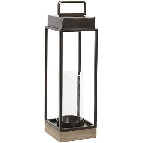Home & Mas theelichthouder zwart decoratief van metaal en glas, theelichthouder, decoratie binnen/buiten, 11,5 x 11,5 x 39 cm
