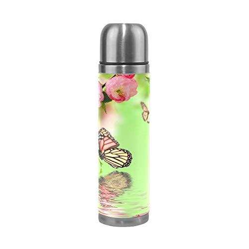 DEZIRO Water Spring Bloom - Termo de acero inoxidable aislado al vacío (33 cl), diseño de mariposas, color verde