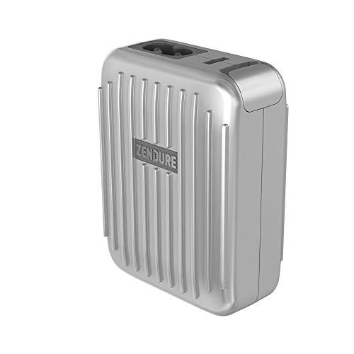 Zendure 4-Port Charger mit Power Delivery (Quick Charge 3.0 mit 30W Schnellladefunktion für iPhone, iPad, Android, Nintendo Switch und viele mehr, USB, USB-C, EU, UK und US Stecker), Silber