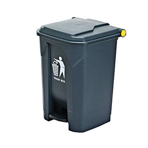 Affordable LXF Outdoor Waste Bins Plastic flip Trash can Black Wheelie bin (Color : Gray, Size : 45L...