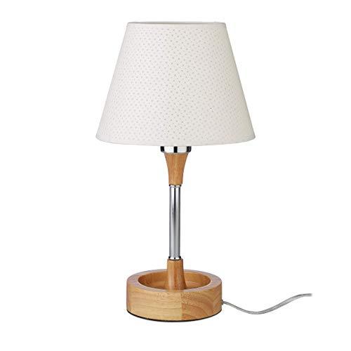 Relaxdays Tischlampe Holzfuß, mit Stromkabel, eleganter Sockel, Stoffschirm, E27, Dekoleuchte, H x Ø: 42 x 23 cm, weiß