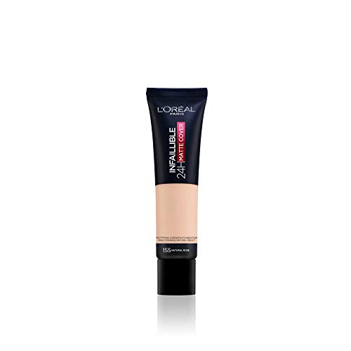 L'Oréal Paris Make up, Wasserfest und langanhaltend, Mattierende, flüssige Foundation mit hoher Deckkraft, Infaillible 24H Matte Cover, Nr. 155 Naturel Rose/Natural Rose, 1 x 30 ml