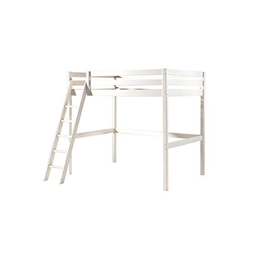 Jugendmöbel24.de Hochbett Harper 140 * 200 cm inkl Rollrost Kiefer massiv EN geprüft + FSC Zertifiziert Kinderbett Bett Kinderzimmer Massivholzbett