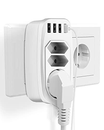 USB Steckdose, Mehrfachsteckdose mit 4 USB (2.4A) & 3 Fach Steckdosen (4000W), 7-in-1 Steckdosenadapter fur Büro, Zuhause, Hotel, Geschäftsreise