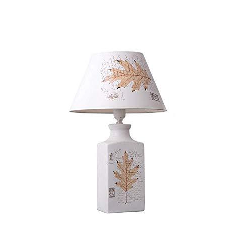 Yankuoo Lámpara de Mesa de cerámica romántica cálida, lámpara de Lectura de Hoja de Arce de Estilo Pastoral Cuadrado Vintage, lámpara Decorativa de Personalidad de Hotel de Dormitorio de Estudio