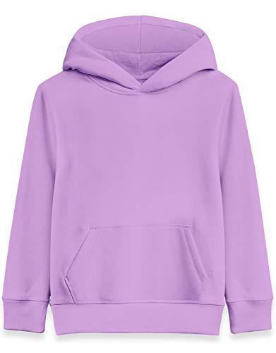 Girls Purple Hoodies Size 8 Kids Autumn Long Sleeve Pockets Hooded Pullover Children's Lightweight Crewneck Hoodys Shirt Sweater 6yr Girl Cool Lavender Jackets Cool School Uniform