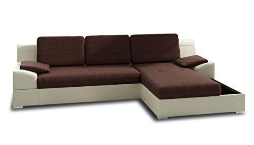 Ecksofa Aldo mit Glasregal, Couchgarnitur mit Bettfunktion und Bettkasten, Sofagarnitur, Couch mit Schlaffunktion, Big Sofa (Beige + Braun (Soft 018 + Inari 24), Ecksofa Rechts)