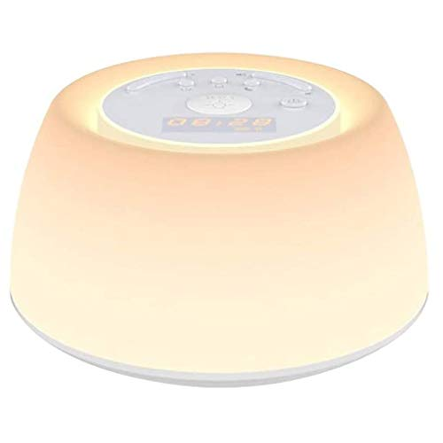 NXYJD Night Light Clock, Wake Up Light Speaker, Table Lamp Alarm Clock, Dimmable Warm Light and Colorful Light Beside Lamp Music
