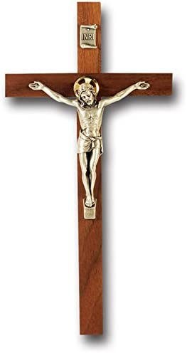 Walnut Wood Max 58% OFF Halo of Christ Silver Wall Religious C Inch Corpus 9 Indianapolis Mall
