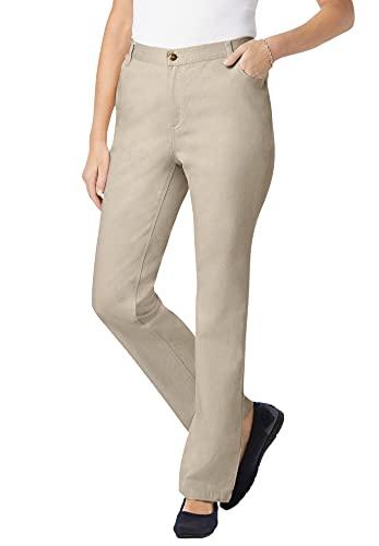 Woman Within Women's Plus Size Petite Side-Elastic Straight Leg Cotton Jean - 22 WP, Natural Khaki Beige