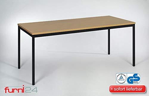 furni24 Schreibtisch Homeoffice Seminartisch 120 cm x 80 cm x 75 cm schwarz/buche Verschiedene Größen schöner Stabiler PC-Tisch mit viel Beinfreiheiten