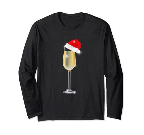 Copa de champán de Navidad con sombrero de Papá Noel para beber Manga Larga