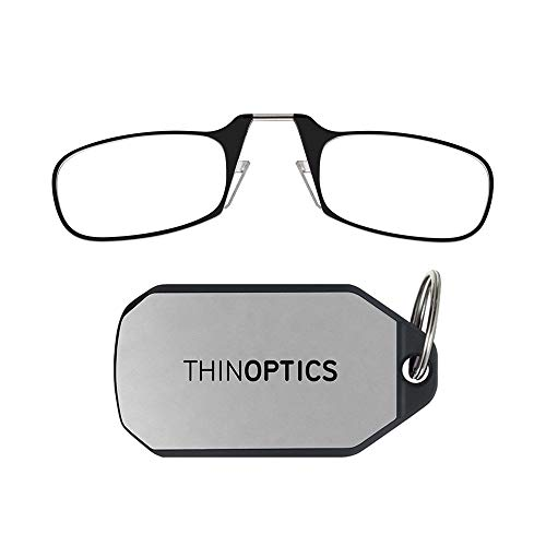 ThinOptics-Lesebrillen als Schlüsselanhänger. Transparenter Rahmen, Stärke 1,50
