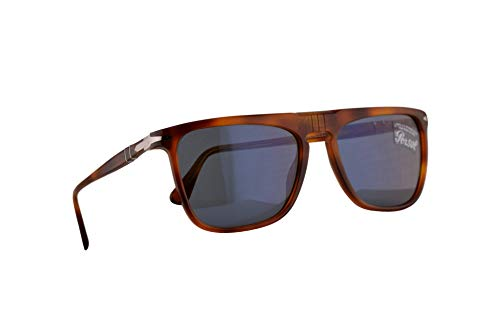Persol 3225-S Sonnenbrille Terra Di Siena Mit Blauen Gläsern 56mm 9656 PO 3225S PO3225S PO3225-S