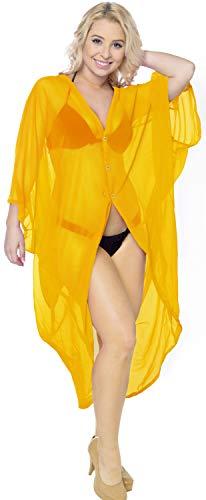 LA LEELA Corta De La De del Verano De Las Mujeres del Verano Que Cubre La Cubierta Superior De La Rebeca del sólida Kimono Llanura del MantóN De La Gasa Amarillo_O972