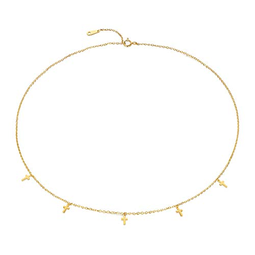 Dainty Cross Choker Necklace S925 Sterling silver Cross Necklace for Women 14K Real Gold Plated Religious Necklace
