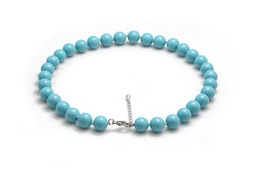 Schmuckwilly collana di perle conchiglia- Turchese blu donne collana da gusci reali 45cm 12mm mk12mm087-45