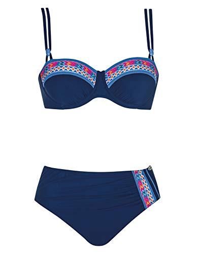 Sunflair 21090-3099 Women's Tropical Dream Night Blue Multicolour Underwired Soft Cup Bikini Set 42 - F Cup