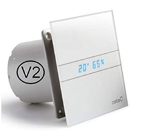 CATA E-100-GTH 00900200 V2 Nachlauf neu Feuchtesensor LED Anzeige Display Front - echtes Glas (Ø 100, Milch Weiß/White)