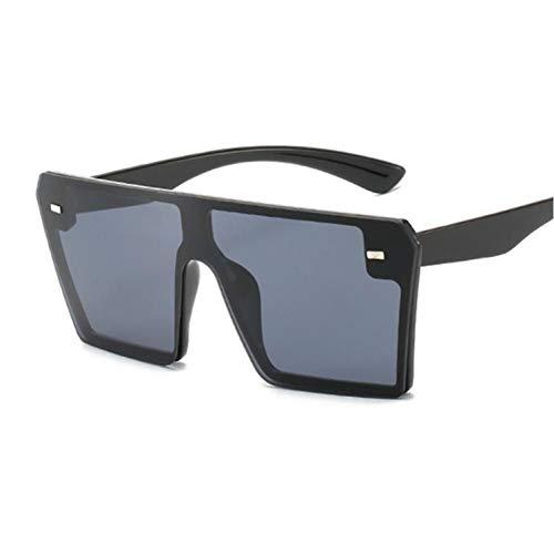 FRGH Gafas De Sol Cuadradas De Gran Tamaño para Mujer, Parte Superior Plana, Marrón, Negro, Lente Transparente, Gafas De Una Pieza para Mujer, Espejo De Sombra
