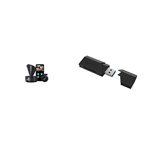 Dual Dash cam | VAVA Dual 1920x1080P FHD | Front and Rear Dash Camera | 2560x1440P Single Front|Loop Recording| Support 128GB Max & Sabrent SuperSpeed 2-Slot USB 3.0 Flash Memory Card Reader