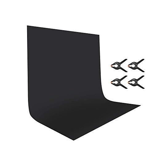 UTEBIT 6x9 Pieds/1,8x2,8 Mètres Toile de Fond 100% Pure Polyester Tissu de Fond Pliable Backdrop Black Photo Studio pour Photographie,Vidéo et Télévision(Noir)