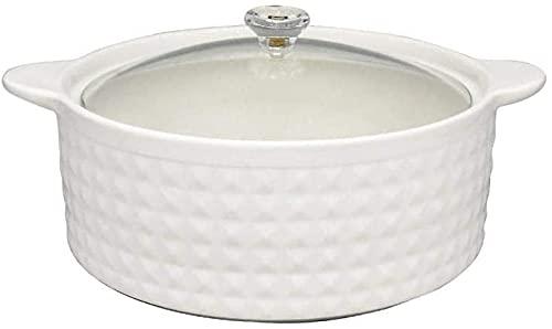 HSWYJJPFB Cazuela Barro Olla de Barro para cocinar Utensilios de Cocina de cerámica - Tapas de cristalería de Doble asa Resistente a Altas temperaturas, Duradera y fácil de Limpiar, Color Blanco