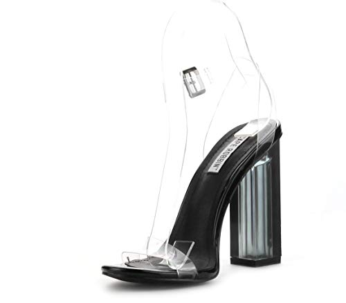 Cape Robbin Maria-2 Clear Chunky Block High Heels for Women, Transparent Strappy Open Toe Shoes Heels for Women - Black Size 11