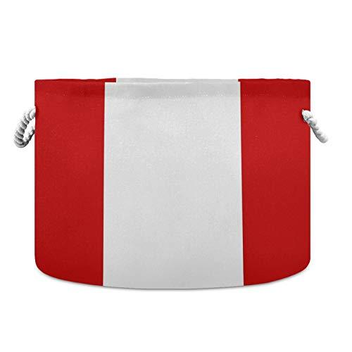 Cesta de almacenamiento redonda impermeable de la bandera de Perú de 50,8 x 35,5 cm, cesta de la ropa para guardería, cesta de bebé con asas de cuerda para manta de juguetes y toallas
