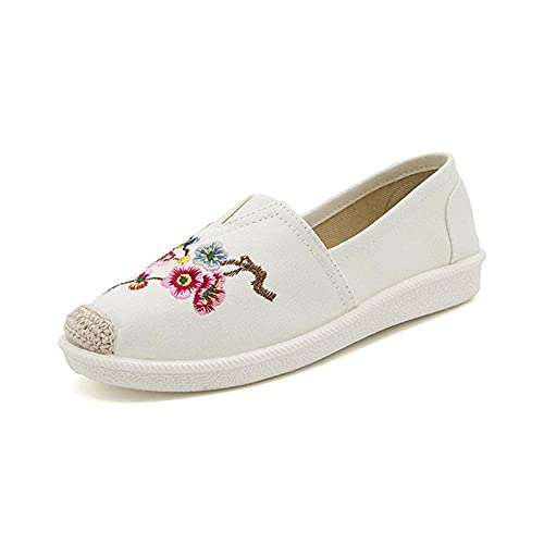 Jskdzfy Ladies embroidered shoes Flower Embroidered Women Canvas Slip on Flats Leisure Ladies Slip on Comfort Loafer Driving Shoes (Color : White, Size : 4)