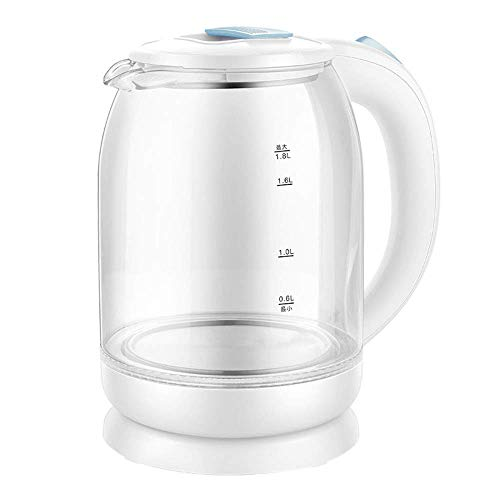 Eco Glass Wasserkocher, 1,8 l Akku-Wasserkocher mit blauer LED-Beleuchtung, schnell kochender Tee-Wasserkocher, automatische Abschaltung und Trocknungsschutz, Innendeckel und Boden aus Edelstahl, 150