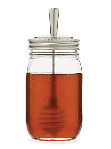 Jarware 82653 tapa de metal Mason Jar Honey Dipper, boca regular, acero inoxidable