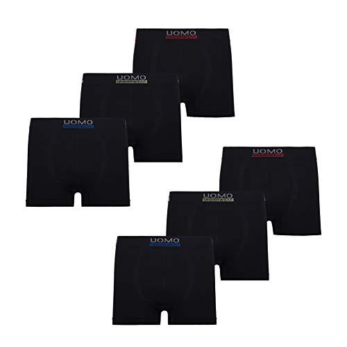 Mikrofaser Boxershorts Herren Unterhosen Männer Uomo 6er Pack, L, 6X Schwarz Mikrofaser