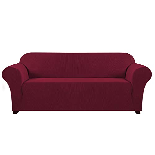 Hoch-Stretch-Sofabezug Stilvolle Möbelabdeckung Schoner mit Spandex Jacquard Kleine Karos Stoff Sofabezug für 3 Kissen Couch mit Anti-Rutsch-Schaum, Waschbar (3-Sitzer-Sofa, Wein)