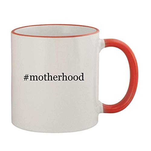 #motherhood - 11oz Ceramic Colored Rim & Handle Coffee Mug, Red