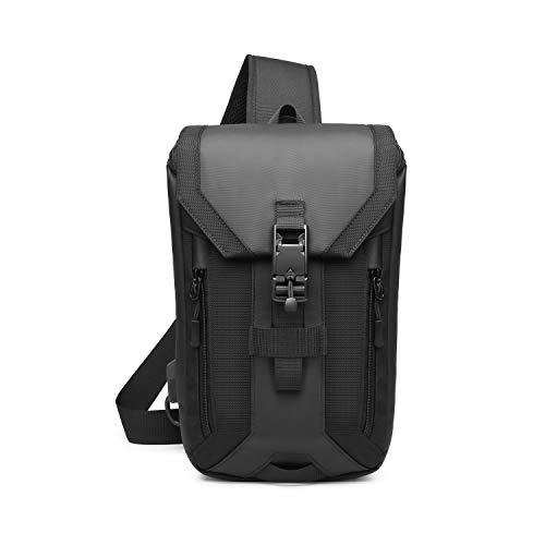 FANDARE Anti-Theft Brusttasche Sling Bag mit USB Schultertasche Herren Grosse Kapazität Crossover Bag Umhängetasche für Schule Outdoorsport Wandern Radfahren Bergsteigen Reisen Polyester Schwarz