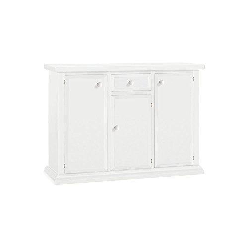 Credenza, stile classico, in legno massello e mdf con rifinitura in bianco opaco - Mis. 120 x 40 x 88