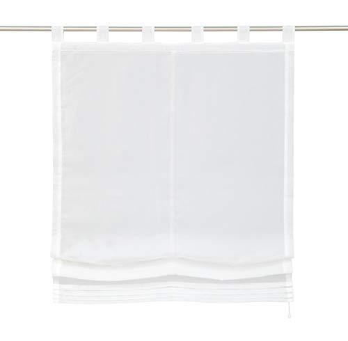 Store Romain Transparent Hauteur Réglable Décoration Parfait pour Fenêtre (LxH 100x155cm, Blanc)