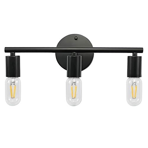 3-Light Black Bathroom Vanity Light, Industrial Matte Wall Sconce Lighting Fixtures for Hallway Bathroom Bedroom Living Room