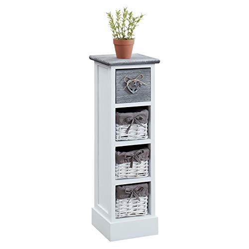 CARO-Möbel Blumenregal Flower Schubladenregal Standregal in weiß, Shabby Chic Vintage Look, mit dekorativer Schublade und 3 Körben