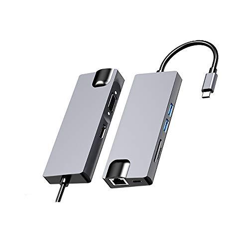 GHKLGTY Extender Tipo C para HDMI Ocho en Uno Hub USB, para Resolver el Problema de la computadora portátil con Menos interfaces externas