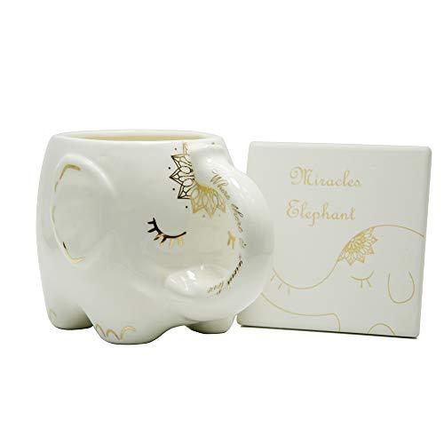 Elefant-Kaffeetasse Weiße keramische Tee-Becher mit handbedruckten Motiven und gedrucktes Sprichwort Tolles Geschenk Große handgemachte Tasse Mit Untersetzer
